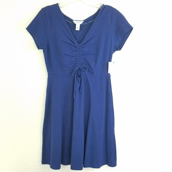 8ffa26ceea2 Arizona Jean Co Solid Blue A-line Summer Dress